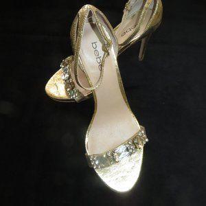 BeBe Gold Heeled shoes with large Rhinestone trim